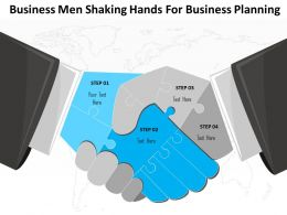 1214 Business Men Shaking Hands For Business Planning PowerPoint Template