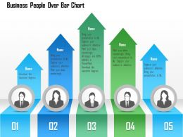 1214 Business People Over Bar Chart Powerpoint Template