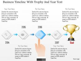 1214 Business Timeline With Trophy And Year Text Powerpoint Template