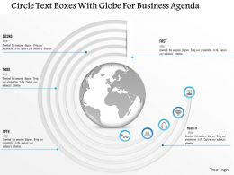 1214 Circle Text Boxes With Globe For Business Agenda PowerPoint Template