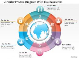 1214 Circular Process Diagram With Business Icons Powerpoint Template