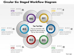1214 Circular Six Staged Workflow Diagram Powerpoint Template