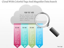 1214 Cloud With Colorful Tags And Magnifier Data Search Powerpoint Template