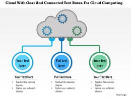1214 Cloud With Gear And Connected Text Boxes For Cloud Computing PowerPoint Template