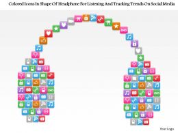 1214 Colored Icons In Shape Of Headphone For Listening And Tracking Trends On Social Media Ppt Template