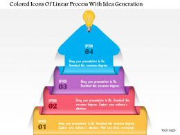 1214 Colored Icons Of Linear Process With Idea Generation PowerPoint Template