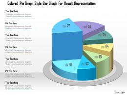 1214 Colored Pie Graph Style Bar Graph For Result Representation PowerPoint Template