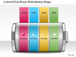1214 Colored Text Boxes With Battery Shape PowerPoint Template