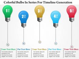 1214 Colorful Bulbs In Series For Timeline Generation PowerPoint Presentation