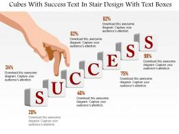 1214 Cubes With Success Text In Stair Design With Text Boxes PowerPoint Template