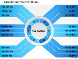 1214 Cycle Diagram Circular Arrows Text Boxes PowerPoint Presentation