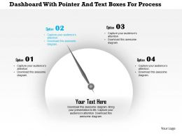 1214 Dashboard With Pointer And Text Boxes For Process Control PowerPoint Presentation