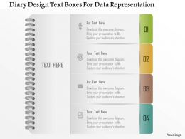 1214 Diary Design Text Boxes For Data Representation Powerpoint Template