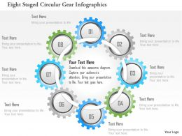 1214 Eight Staged Circular Gear Infographics Powerpoint Template