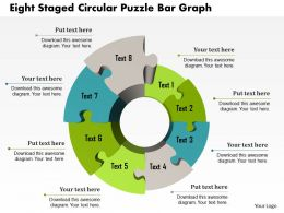1214 Eight Staged Circular Puzzle Bar Graph PowerPoint Template