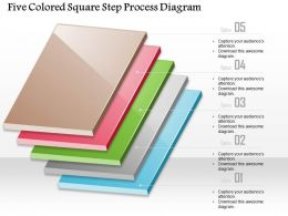1214 Five Colored-Square Step Process Diagram PowerPoint Template