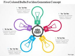 1214 Five Colored Bulbs For Idea Generation Concept PowerPoint Presentation