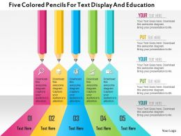 1214 Five Colored Pencils For Text Display And Education Powerpoint Template