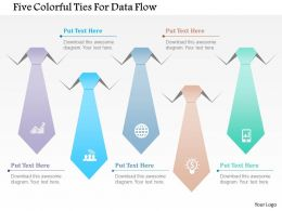 1214 Five Colorful Ties For Data Flow PowerPoint Template