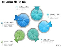 1214 Five Decagon With Text Boxes Powerpoint Template