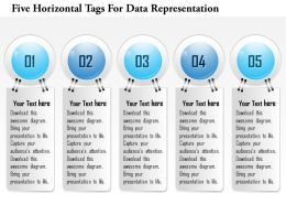 1214 Five Horizontal Tags For Data Representation PowerPoint Template