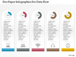 1214 Five Paper Infographics For Data Flow Powerpoint Template