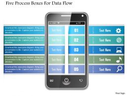 1214 Five Process Boxes For Data Flow Powerpoint Template