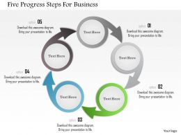 1214 Five Progress Steps For Business Powerpoint Template