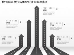 1214 Five Road Style Arrows For Leadership Powerpoint Template