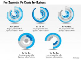 1214 Five Sequential Pie Charts For Business Powerpoint Template