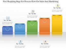 1214 Five Shopping Bags For Process Flow For Sales And Marketing Powerpoint Template