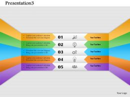 1214 Five Stage Diagram With Icons Powerpoint Template