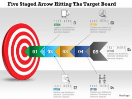 1214_five_staged_arrow_hitting_the_target_board_powerpoint_template_Slide01