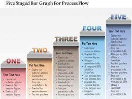 1214 Five Staged Bar Graph For Process Flow Powerpoint Template