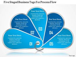 1214 Five Staged Business Tags For Process Flow PowerPoint Presentation