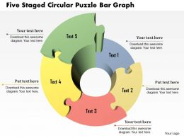 1214 Five Staged Circular Puzzle Bar Graph PowerPoint Template