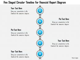 1214 Five Staged Circular Timeline For Financial Report Diagram PowerPoint Template
