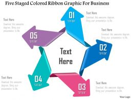1214 Five Staged Colored Ribbon Graphic For Business Powerpoint Template
