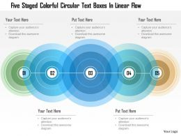 1214 Five Staged Colorful Circular Text Boxes In Linear Flow Powerpoint Template