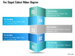 1214 Five Staged Cubical Ribbon Diagram Powerpoint Template