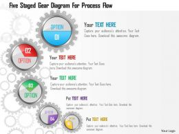 1214 Five Staged Gear Diagram For Process Flow Powerpoint Template