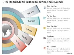 1214 Five Staged Global Text Boxes For Business Agenda Powerpoint Template