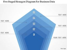 1214 Five Staged Hexagon Diagram For Business Data PowerPoint Template