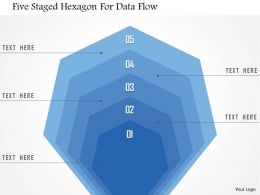 1214 Five Staged Hexagon For Data Flow PowerPoint Template