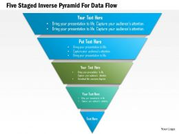 1214 Five Staged Inverse Pyramid For Data Flow PowerPoint Template