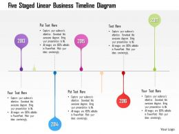 1214 Five Staged Linear Business Timeline Diagram Powerpoint Template