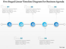 1214 Five Staged Linear Timeline Diagram For Business Agenda PowerPoint Template