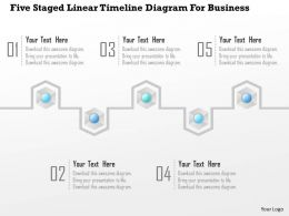 1214 Five Staged Linear Timeline Diagram For Business PowerPoint Template