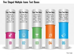 1214 Five Staged Multiple Icons Text Boxes Powerpoint Template