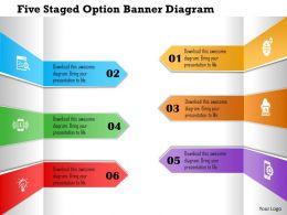 1214 Five Staged Option Banner Diagram Powerpoint Template